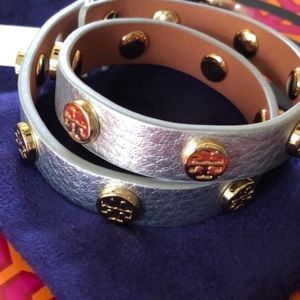 Tory Burch Double Wrap Logo Stud Bracelet Silver